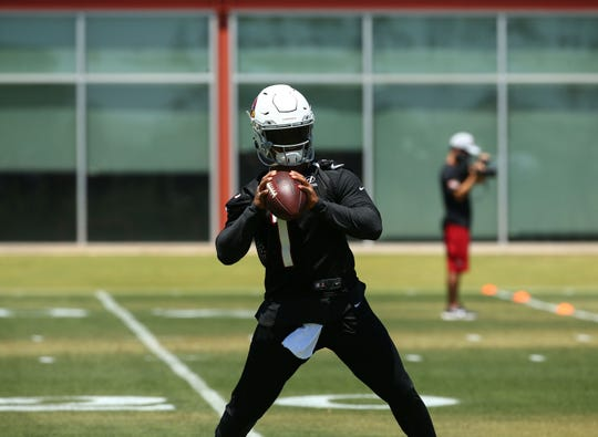 Arizona Cardinals quarterback Kyler Murray (1) during OTAs (organized team activities) on May 29, 2019 in Tempe, Ariz.