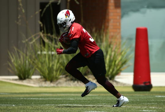 Arizona Cardinals running back David Johnson (31) during OTAs (organized team activities) on May 29, 2019 in Tempe, Ariz.