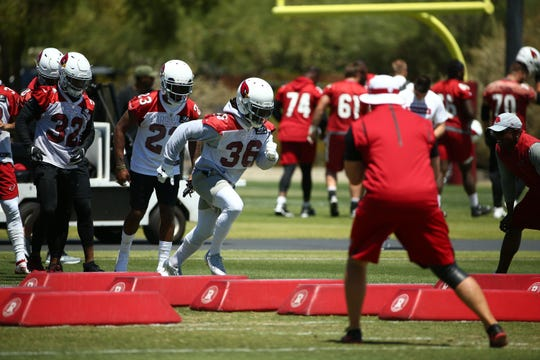 D.J. Swearinger participates in a drill during during the Cardinals' OTAs.