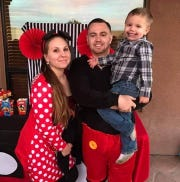 26-year-old Richard Chavez, pictured here with his fiance Trisha Dunkel and five-year-old son, was shot and killed in his home on Saturday, police said.