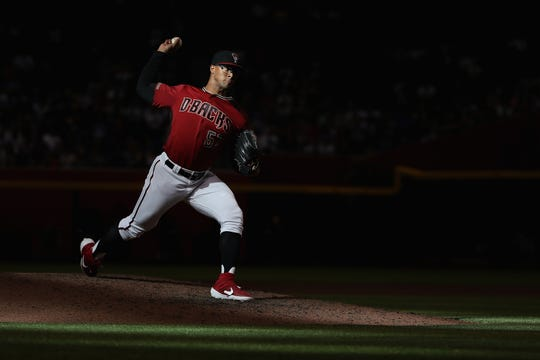 Jon Duplantier pitches against the Cubs at Chase Field on April 28.