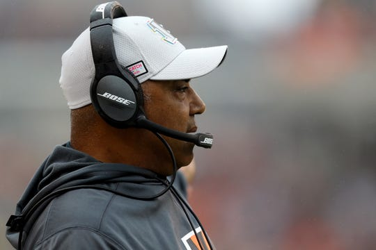 Oct 14, 2018: Cincinnati Bengals head coach Marvin Lewis watches game action during the game against the Pittsburgh Steelers in the first half at Paul Brown Stadium.