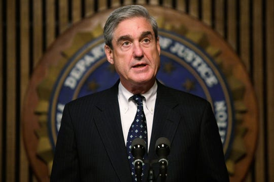 Special counsel Robert Mueller holds a news conference.