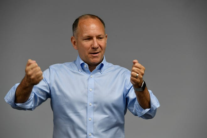 "U.S. Rep. Lloyd Smucker, R-Lancaster, says ""I think somebody sort of turned (Amash) upside down and dropped him on his head,"" during a town hall at Bailey Coach in Jackson Township, Thursday, May 29, 2019. John A. Pavoncello photo"