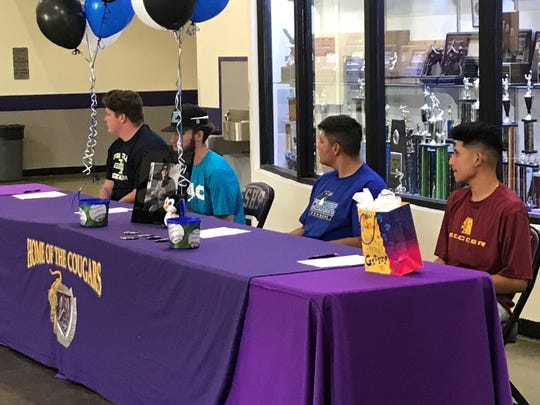Spanish Springs had four athletes sign for college on Wednesday, Ryan Fauls, Alex Van Dyne, Hunter Dudley and Adan Ramirez.