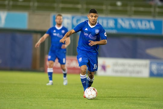 Kevin Partida plays in a game for Reno 1868 FC last season.