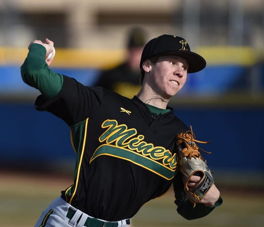 Bishop Manogue's Jack Weise pitches against Reed on March 14, 2019.