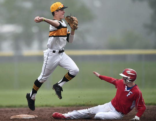 McQuaid's Noah Campanelli, left, converts a double play over Fairport's Derek Watson during a Class AA sectional quarterfinal at McQuaid Jesuit High School, Tuesday, May 28, 2019. No. 1 seed McQuaid advanced to the Class AA semifinal with a 1-0 win over No. 9 seed Fairport.