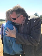 Rep. Doug LaMalfa, right, hugs Maurice Johannessen, 85, after the groundbreaking for a new Redding VA Outpatient Clinic on Wednesday, May 29, 2019. Johannessen was instrumental in having the clinic placed off Knighton Road across the street from the existing Redding Veterans Home.