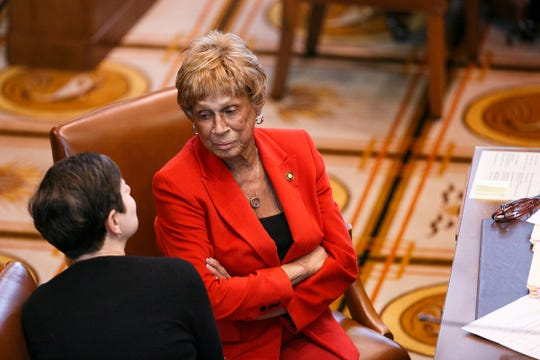 Senator Jackie Winters, R-Salem, and Senator Elizabeth Steiner Hayward, D-Portland/Beaverton, talk as lawmakers worked to close out the short legislative session at the Oregon State Capitol in Salem on March 3, 2018.