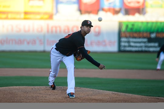 Delmarva Shorebirds' pitcher Ofelky Peralta fires a pitch at Arthur W. Perdue Stadium.