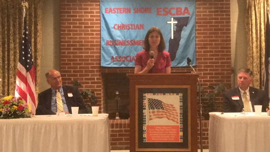 Congresswoman Elaine Luria delivers the keynote address at the Eastern Shore Christian Businessmen's Association 2019 Prayer Breakfast on Wednesday, May 29, 2019 in Accomac, Virginia.