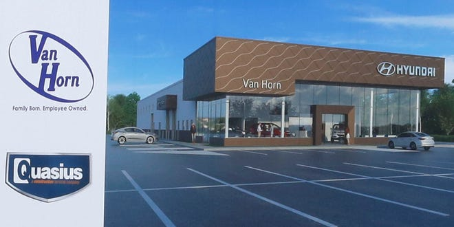 An illustration of  what the new Van Horn Hyundai dealership will look like when it is completed.