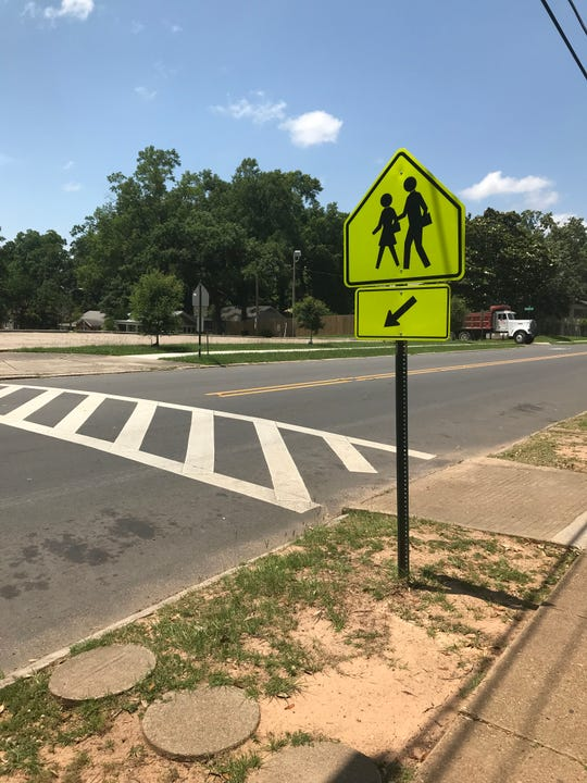 A crosswalk in front of Creswell Elementary School.