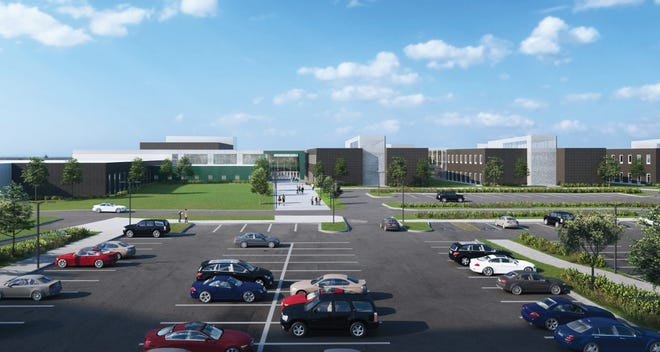 Shown is the latest artist rendering of the overall building design of Jefferson High School, the newest Sioux Falls School District campus expected to open by fall 2021. The rendering was presented to the school board Tuesday, May 28, 2019, as part of the final design plans for the campus.