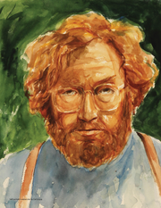 A self portrait of Grupp painted in watercolor.