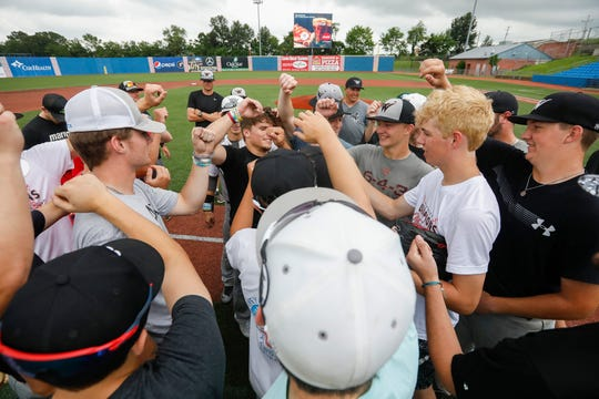 The Willard baseball team finishes practice at US Baseball Park in Ozark on Wednesday, May 29, 2019. Willard will be playing the MSHSAA Baseball Class 5 state semifinals on Friday.