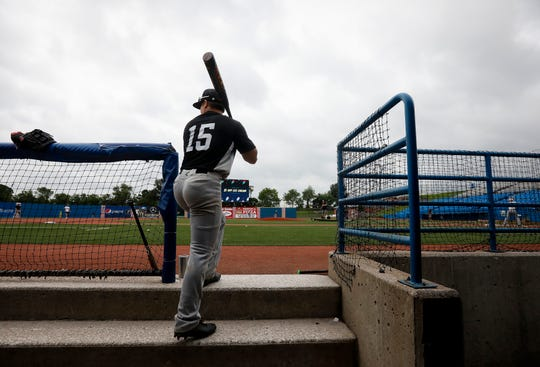 Blake Hultgren walks out of the dugout during Willard's practice at US Baseball Park in Ozark on Wednesday, May 29, 2019. Willard will be playing the MSHSAA Baseball Class 5 state semifinals on Friday.