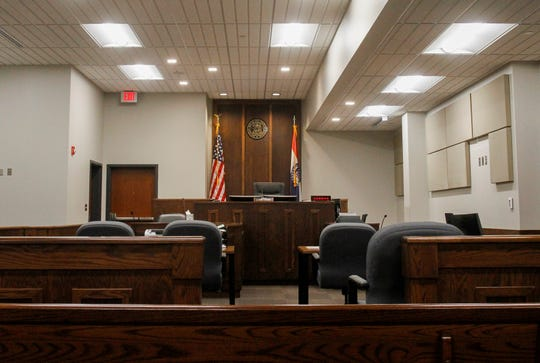 An empty courtroom in the 31st Judicial District.