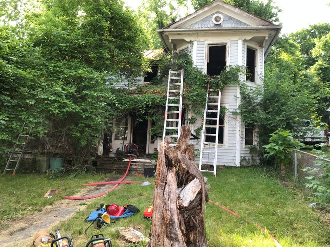 A fire Wednesday morning damaged this vacant home at 29 Park Boulevard in Staunton.