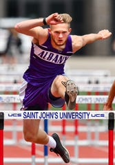 Landon Wenderski of Albany competes in the 110 meter hurdles finals during the Section 5A Track and Field Championships Wednesday, May 29, at St. John's University in Collegeville.