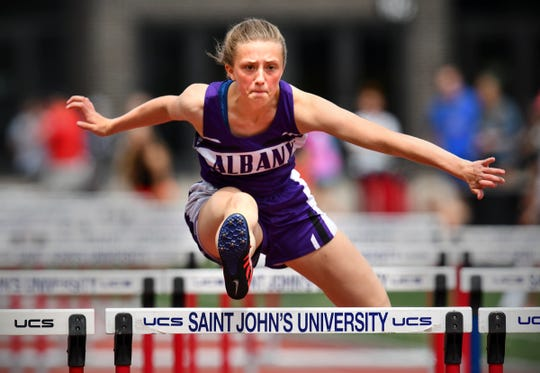Sophia Waletzko of Albany cometes in the 100 meter hurdles finals during the Section 5A Track and Field Championships Wednesday, May 29, at St. John's University in Collegeville.