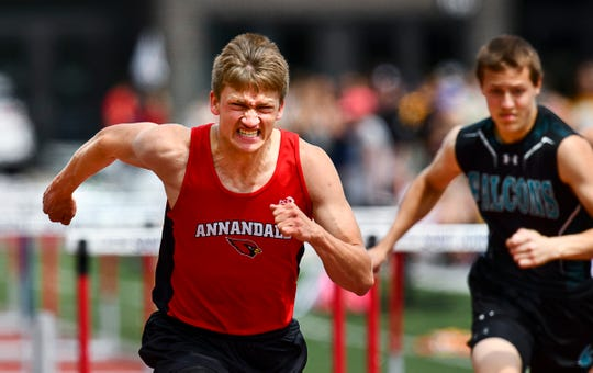 Annandale's Jim Korsmo competes in the 110 meter hurdles during the Section 5A Track and Field Championships Wednesday, May 29, at St. John's University in Collegeville.