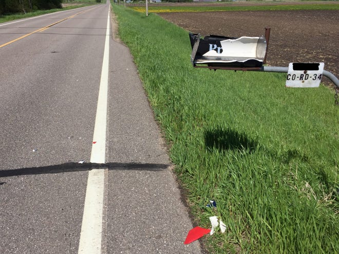 One of more than 30 damaged mailboxes in Luxemburg and Eden Lake townships is shown Monday, May 27.