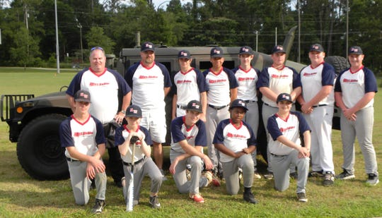 Northwest Leon Little League Seniors Championship. Back row, left to right: Coach Brian Krutchik, Coach John Ard, Will Vislocky, Gavin Smith, Wyatt Crosby, Mark Faircloth, Chase Ard. Front row, left to right: Ethan Krutchik, Joseph Barnhill, Andy Thies, Jaylan McGriff, Grant Knoll, Aubrie Ruis.