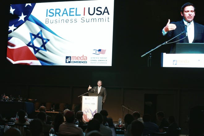 Governor Ron DeSantis delivered the keynote address at the 2019 Israel-America Business Summit in Airport City Wednesday.