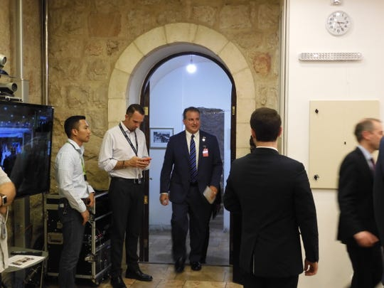 Chief Financial Officer  Jimmy Patronis enters the Wasson Room of the US Embassy Annex to conduct the first Florida Cabinet meeting in Jerusalem.