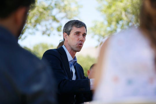 Democratic presidential candidate Beto O'Rourke discusses immigration reform plan Tuesday, May 28, at Chamizal National Memorial park in El Paso.