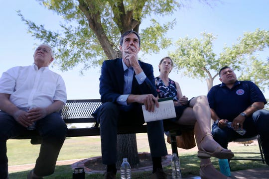 Democratic presidential candidate Beto O'Rourke listens to Carlos Maldonado talk about his immigration story during a discussion about O'Rourke's immigration reform plan Tuesday, May 28, at Chamizal National Memorial park in El Paso.
