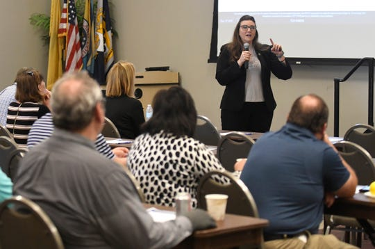 Thereasa Barker-Figueroa, NJOHSP, speaks about cybersecurity practices during the Hometown Security Seminar at Cumberland County College.