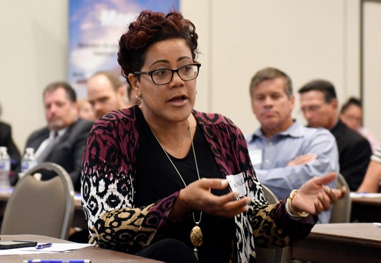 Cumberland County Prosecutor Jennifer Webb-McRae speaks during the panel discussion at the Hometown Security Seminar at Cumberland County College on Wednesday.