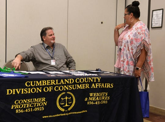 James R. Matlock, Sr., Cumberland County Division of Consumer Affairs, speaks to attendees of the Hometown Security Seminar at Cumberland County College on Wednesday.
