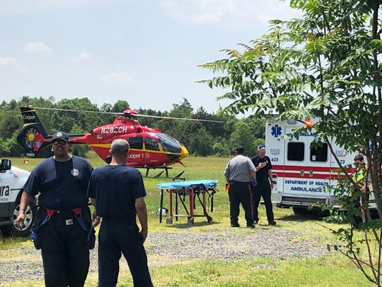 A medical helicopter carried an injured motorcyclist to  Cooper University Hospital in Camden after a Vineland collision on May 29, 2019.
