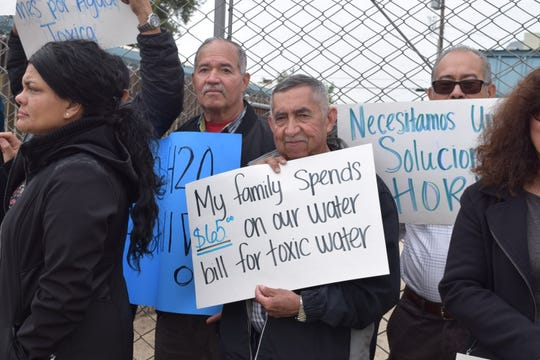 Pedro Cazeras of East Orosi pays $65 a month for water he can't safely drink. He and dozens of other aggrieved residents attended a Bakersfield rally on Tuesday in support of the Safe and Affordable Drinking Water Fund, which they see as an answer to California's clean drinking water crisis.