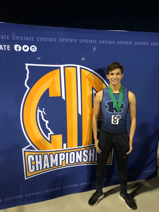 Redwood High School junior Brandon Andrade placed sixth in the 300-meter hurdles on Saturday at the 101st CIF State Track & Field Championships in Clovis.