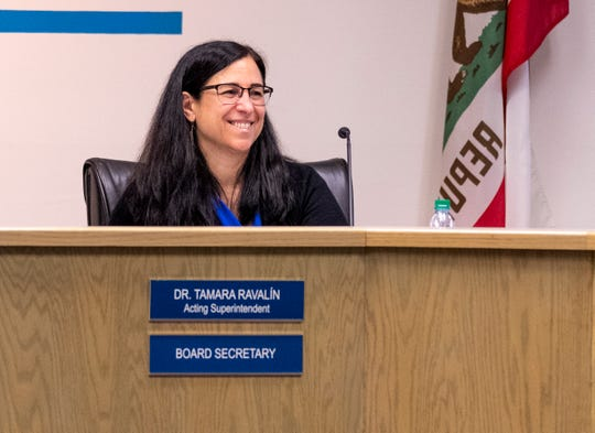 Acting Superintendent Tamara Ravalin during a Visalia Unified School District Board meeting on Tuesday, May 28, 2019.