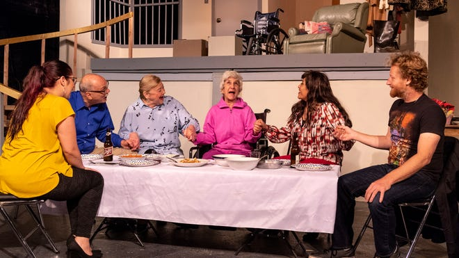 Cast members rehearse for Visalia Players' latest show The Humans on Tuesday, May 28, 2019.
