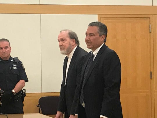 Mount Vernon Corporation Counsel Lawrence Porcari Jr., left, stands with his lawyer Nicholas Kaizer in Westchester County Court May 29, 2019, as he pleads not guilty to felony charges of offering a false instrument for filing in connection with the state Attorney General's probe into the alleged misuse of city funds