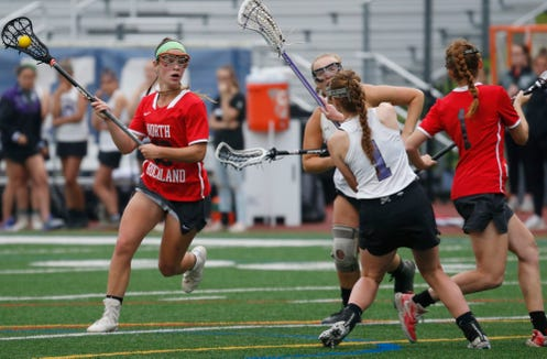 North Rockland's Kerri Gutenberger lines up on Monroe Woodbury's goal during Tuesday's Class A regional semifinal in Newburgh on on May 28, 2019.