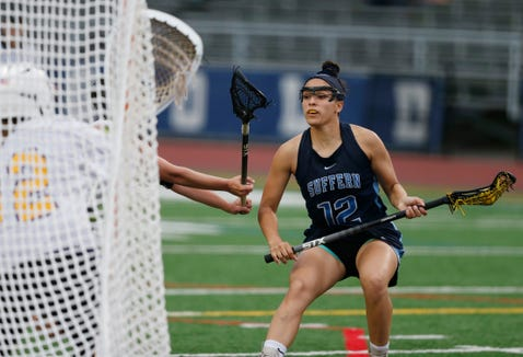 Suffern's Anna Maria Gragnani moves on goal vs. Warwick during a Class B regional semifinal, which Suffern won May 29, 2019.