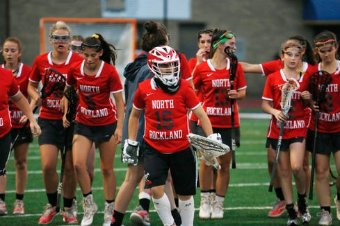 North Rockland's girls lacrosse team leave the field following winning Tuesday's Class A regional semifinal versus Monroe Woodbury in Newburgh on on May 28, 2019.