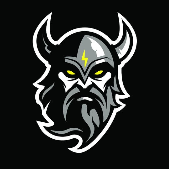 The logo for the Delaware Thunder is a viking with a lightning bolt.