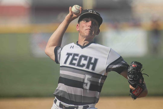 Sussex Tech pitcher Matt Warrington fires against Appoquinimink in the quarterfinals of the DIAA Baseball Tournament on Tuesday. The senior allowed just one unearned run and one hit in 7 1/3 innings, but the Ravens lost 1-0.