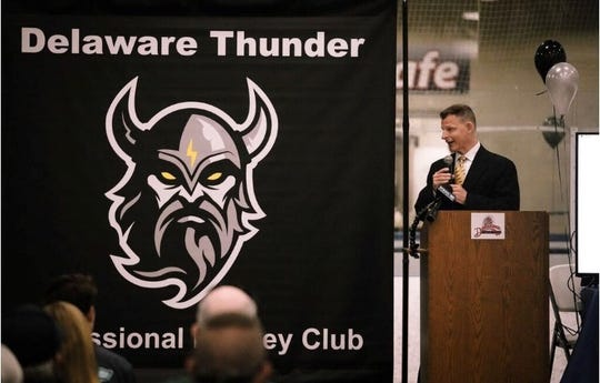Majority owner and general manager Charlie Pens speaks at the Delaware Thunder's introductory press conference in Harrington on May 29, 2019.