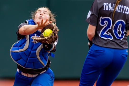 Windthorst catcher Abby Brown (22) pulls down a Thorndale out during a class 2A UIL softball state semifinal game at McCombs Field, in Austin, Wednesday, May 29, 2019. [Stephen Spillman]