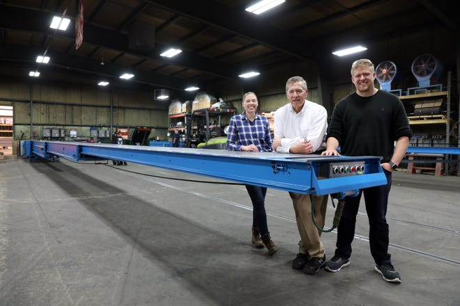Amy, Bill and David Stewart run Stewart Glapat, maker of the adjustoveyor, an adjustable conveyor belt, in Zanesville. The company is celebrating 80 years in business and received an 'Excellence in Technology' award in April from the Eastern Ohio Development Alliance.